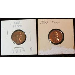 258. 1963 P & 74 S Proof Lincoln Cents.