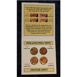 307. Holder with Four major varieties of 1960 Lincoln Cents. Small & Large date.
