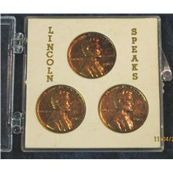 314. (3) 1965 Counterstamped Lincoln Cents in a case.