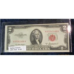 "322. Series 1953A $2 U.S. Note ""Red Seal"". AU."