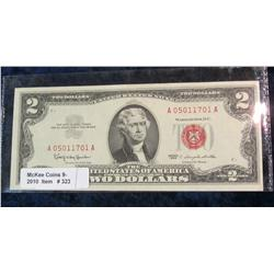 "323. Series 1963 $2 U.S. Note ""Red Seal"". AU."