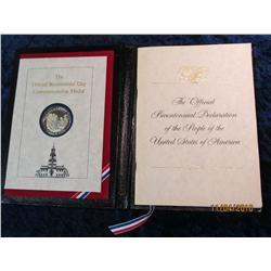 334. The Official Bicentennial Day Commemorative Medal Sterling Silver.