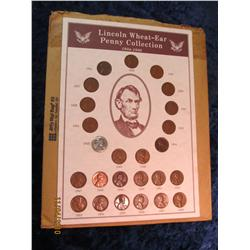 335. Lincoln Wheat-Ear Penny Collection 1934-58 in special display board.
