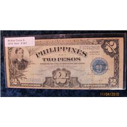 361. Series No. 66 Philippines Two Peso Banknote. VG-F.