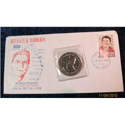 375. 1984 Antigua & Barbuda Ronald Reagan FDC Cover & Medal.