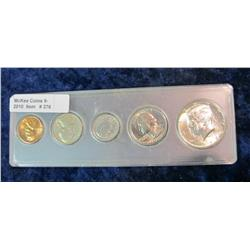 376. 1968 D U.S. Year Set in snaptight holder case. Cent to Half dollar.