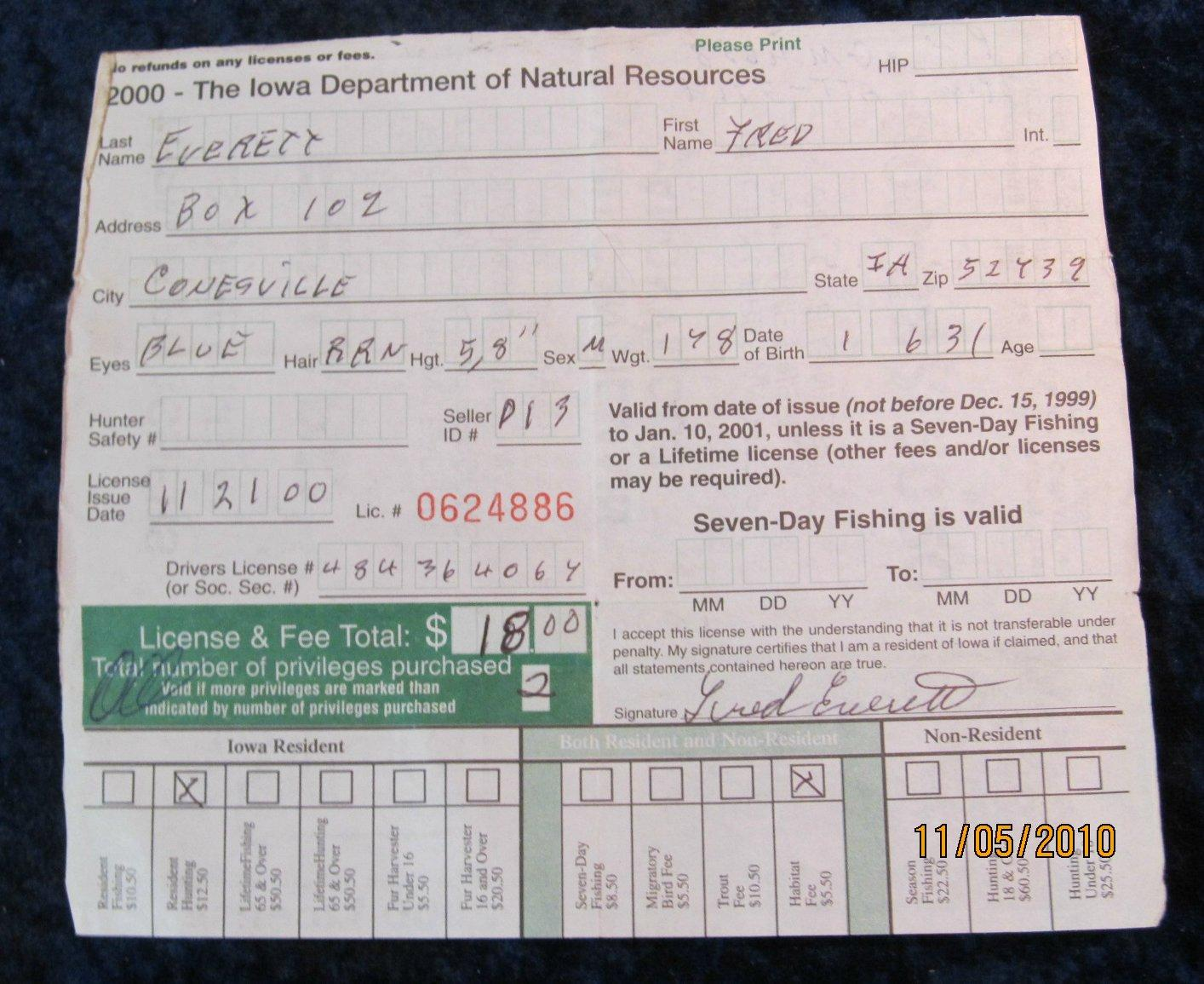 458 2000 state of iowa hunting license
