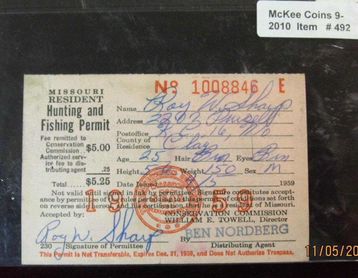 492 1959 missouri resident hunting license with federal for Mo fishing license