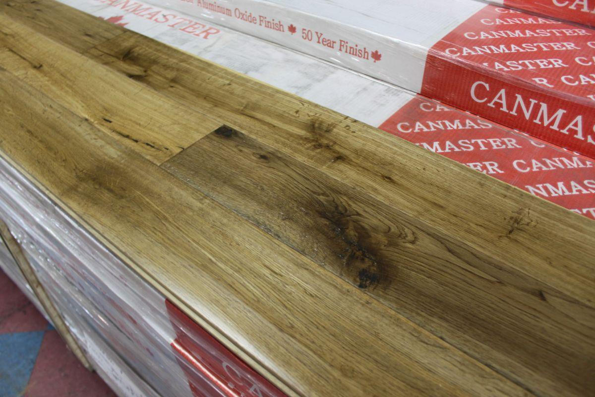 Canmaster wide plank hand scraped smoked oak for Hardwood flooring 8 wide
