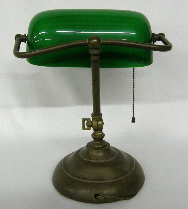Vintage Green Glass Bankers Lamp