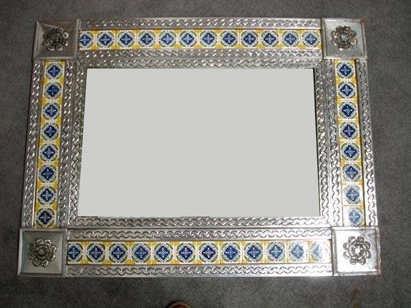 Mexican Tile Tin Framed Mirror Must Be Picked Up Loading Zoom