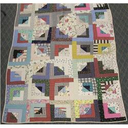 1950-60's Log Cabin Hand Sewn Quilt