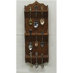 Vintage Spoon Rack and 9 Collector Spoons