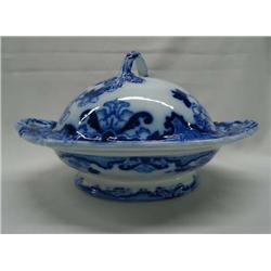 Antique Candia Flow Blue Serving Dish With Lid