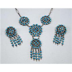 Zuni Petit Point Turquoise Necklace & Earrings