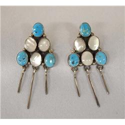 Navajo Silver Turquoise MOP Pierced Earrings