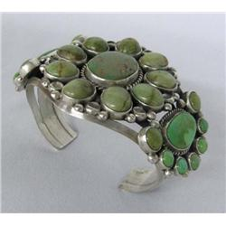 Navajo Silver Turquoise Bracelet by Mike Platero