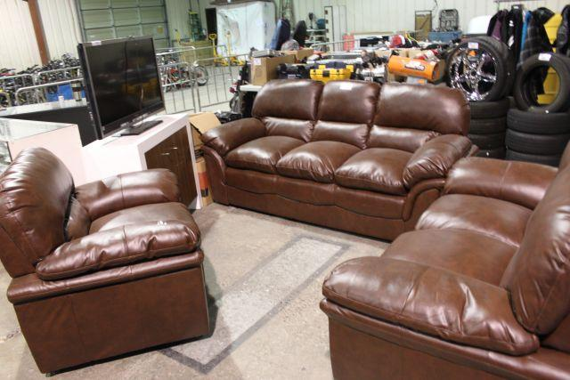 Image 3 Piece Brown Overstuffed Leather Couch Set