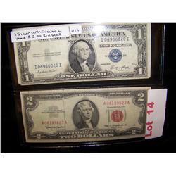 1. Silver Certificate & 1962 $2 Red Seal