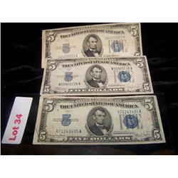 3 TIMES BID $5 Silver Certificates Series 1934 BLUE LABEL