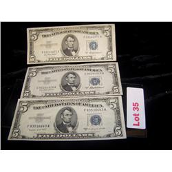 3 TIMES BID- $5 Silver Certificates Series 1953 Blue Label