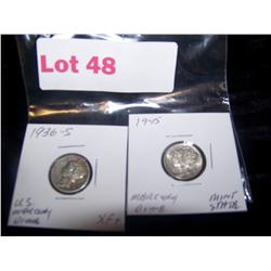 2X Bid Mercury Dimes 1936-S EXTRA FINE+1945 UNCIRCULATED