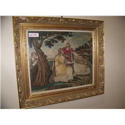 Antique silk tapestry depicting Moses being found by Pharohs daughter