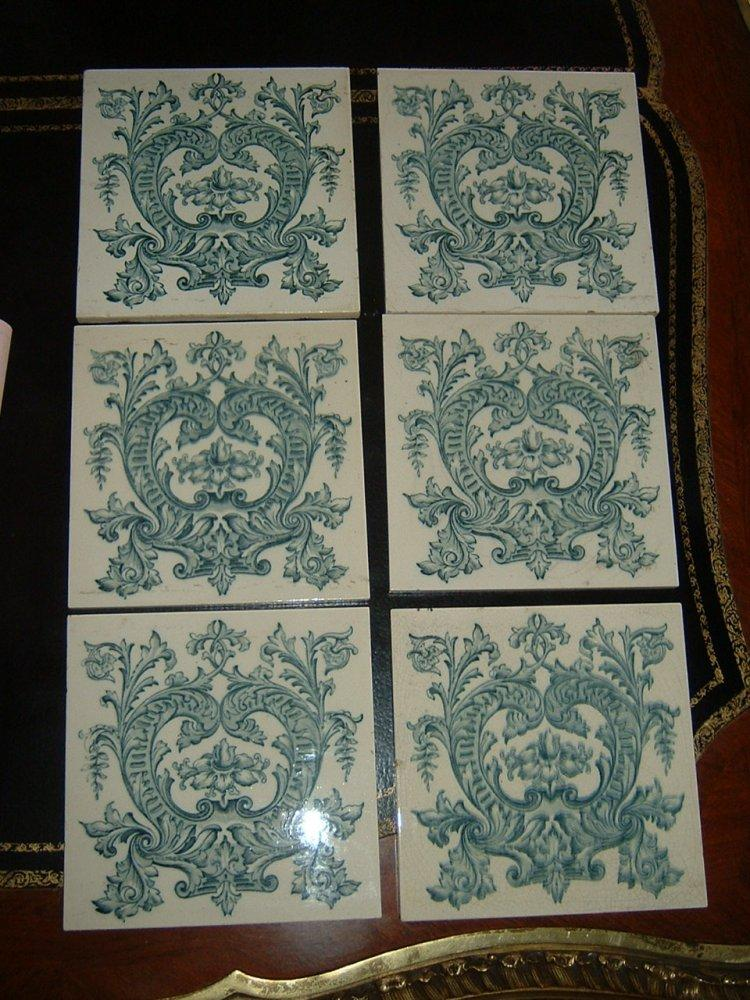 Set Of Six English Ceramic Tiles Art Nouveau Style By Pilkingtons