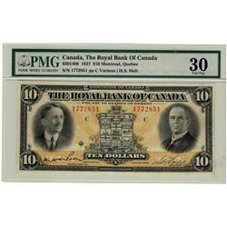 The Royal Bank of Canada 1927 $10 #1772851 CH-630-14-06.  Solid PMG VF30.