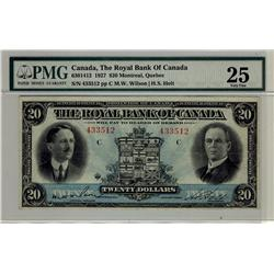 The Royal Bank of Canada, 1927 $20 #433512, CH-630-14-12, PMG VF25.