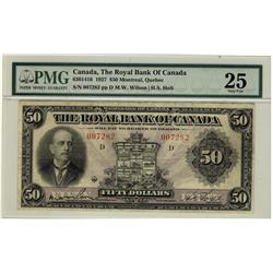 The Royal Bank of Canada 1927 $50 #007282 CH-630-14-16, PMG VF25.  A scarce high denomination.  Unde