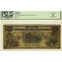 The Sterling Bank of Canada 1914 $5 #A053140, CH-700-12-02 PCGS VG8.  A lovely train vignette.