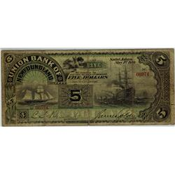 The Union Bank of Newfoundland 1889 $5 #06974 CH-750-16-04 PMG VG8. Very scarce and second best one