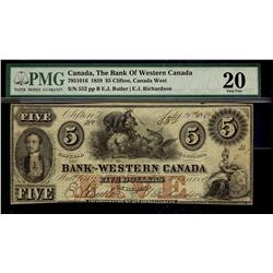 The Bank of Western Canada 1859 $5 #552 CH-795-10-16 PMG VF20.