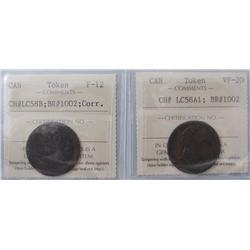 LC58B F12 & LC58A1 VF20, Br:1002.  Lot of 2 tokens including the Small bust design (light corrosion)