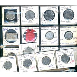 Ontario. Various dairy and merchant tokens from the following locals: Strathroy, Streetsville, Sturg