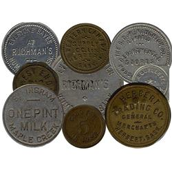Saskatchewan. Various dairy and merchant tokens from the following locals: Aberdeen, Annaheim, Battl