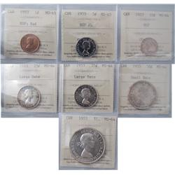 1953 Year Set includes 1¢ NSF MS65, 5¢ NSF FL MS65, 10¢ NSF through to $1 all in MS64.  Lot of 7 coi