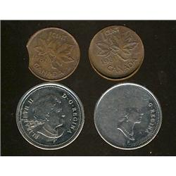 ERROR Coinage.  Lot of 4 coins all with minor errors.  Lot includes 1980 1¢ Thinned planchet with ca