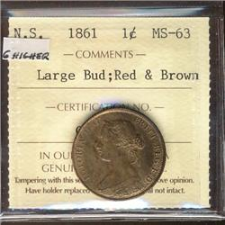 N.S. 1861 1¢ Large Bud ICCS MS63RB.    Attractive and lustrous.