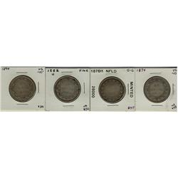Nfld 1874, 1876H, 1882H & 1894 50¢.  Lot of 4 coins Good to Fine.
