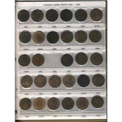 A superb and virtually complete collection of Large cent pieces.  1858 to 1920.  All the major key d