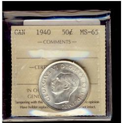 1940 50¢ ICCS MS65.  Frosty white.