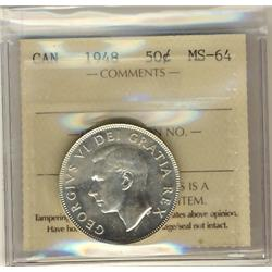 1948 50¢ ICCS MS64.  Full white with lustre.