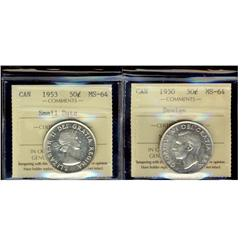 1950 Des & 1953 SD ICCS MS64.  Lot of 2 coins.