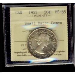 1953 50¢ SD ICCS MS65 Cameo.  Scattered shades.