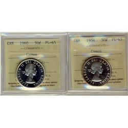 1954 & 1960 50¢ ICCS PL65 Cameo.  Lot of 2 coins.