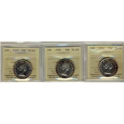 1954, 1956 & 1957 50¢ ICCS PL65.  Lot of 3 coins.