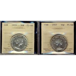 1955 & 1957 50¢ ICCS PL66.  Lot of 2 coins.