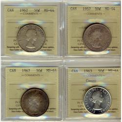 1957 50¢, 1962, 1963 & 1967 ICCS MS64.  Lot of 4 coins 1963 designated Cameo.
